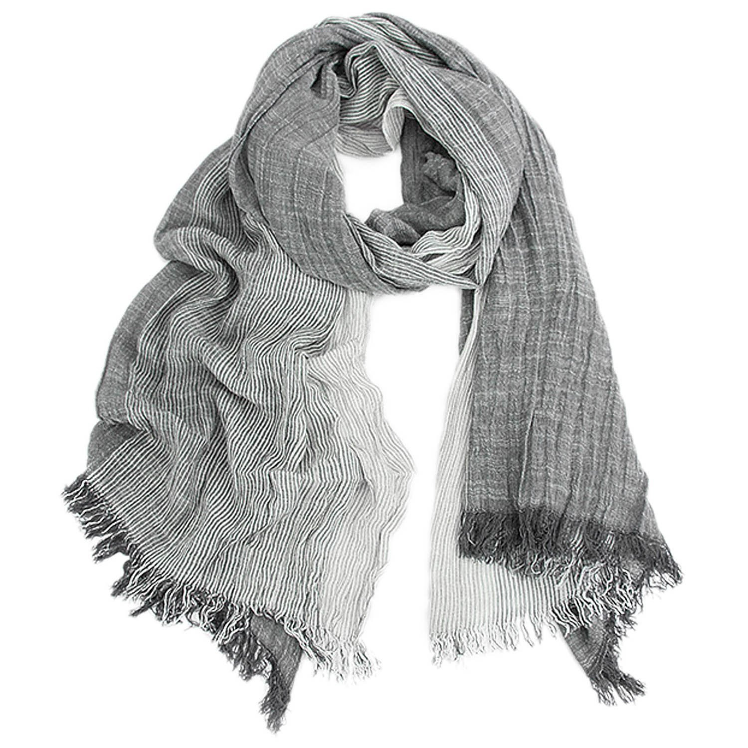 Kalevel Large Scarf Shawl Wrap Cotton Shawls and Wraps with Fringe - Dark Grey by Kalevel (Image #1)