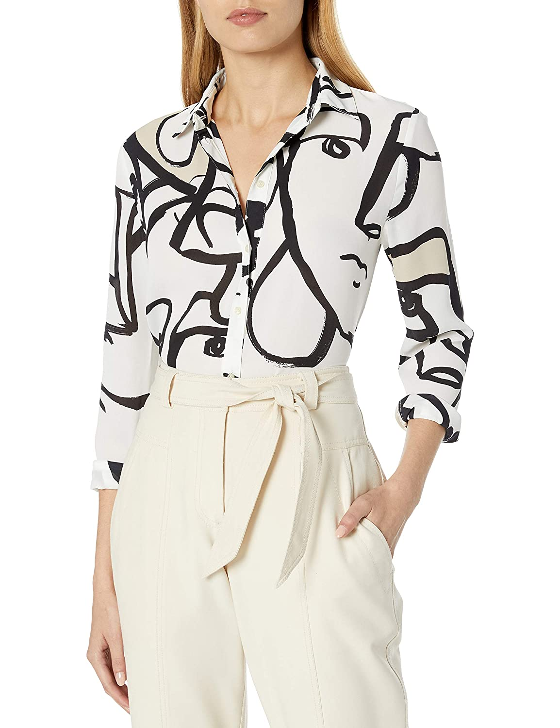 Image of Blouses & Button-Down Shirts A|X Armani Exchange Women's Classic Button Down Shirt with Abstract Face Print