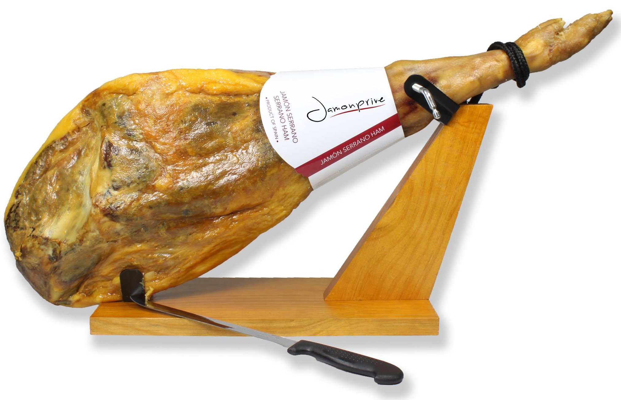 Serrano Ham Bone in from Spain 14.7-17 lb + Ham Stand + Knife | Cured Spanish Jamon Made with Mediterranean Sea Salt & NO Nitrates or Nitrites by Jamonprive (Image #2)