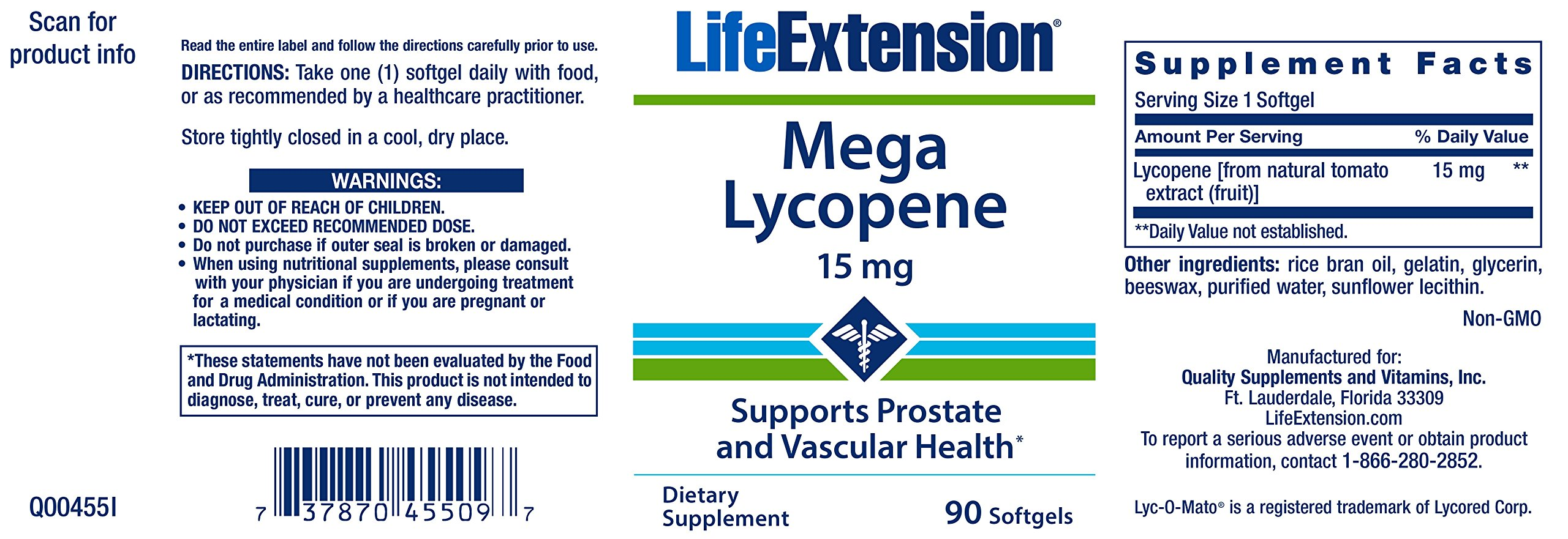 Life Extension Mega Lycopene Extract 15 Mg, 90 softgels by Life Extension