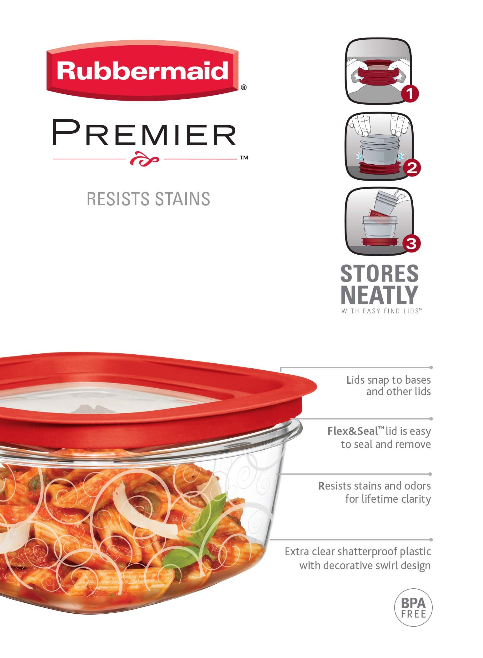 Rubbermaid Premier Food Storage Container, 5-Cup (Pack of 3) by Rubbermaid