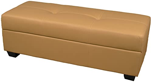 Leather Look Upholstered Tufted Padded Hinged Storage Ottoman Bench, 48 by 19 by 18 , Buckskin