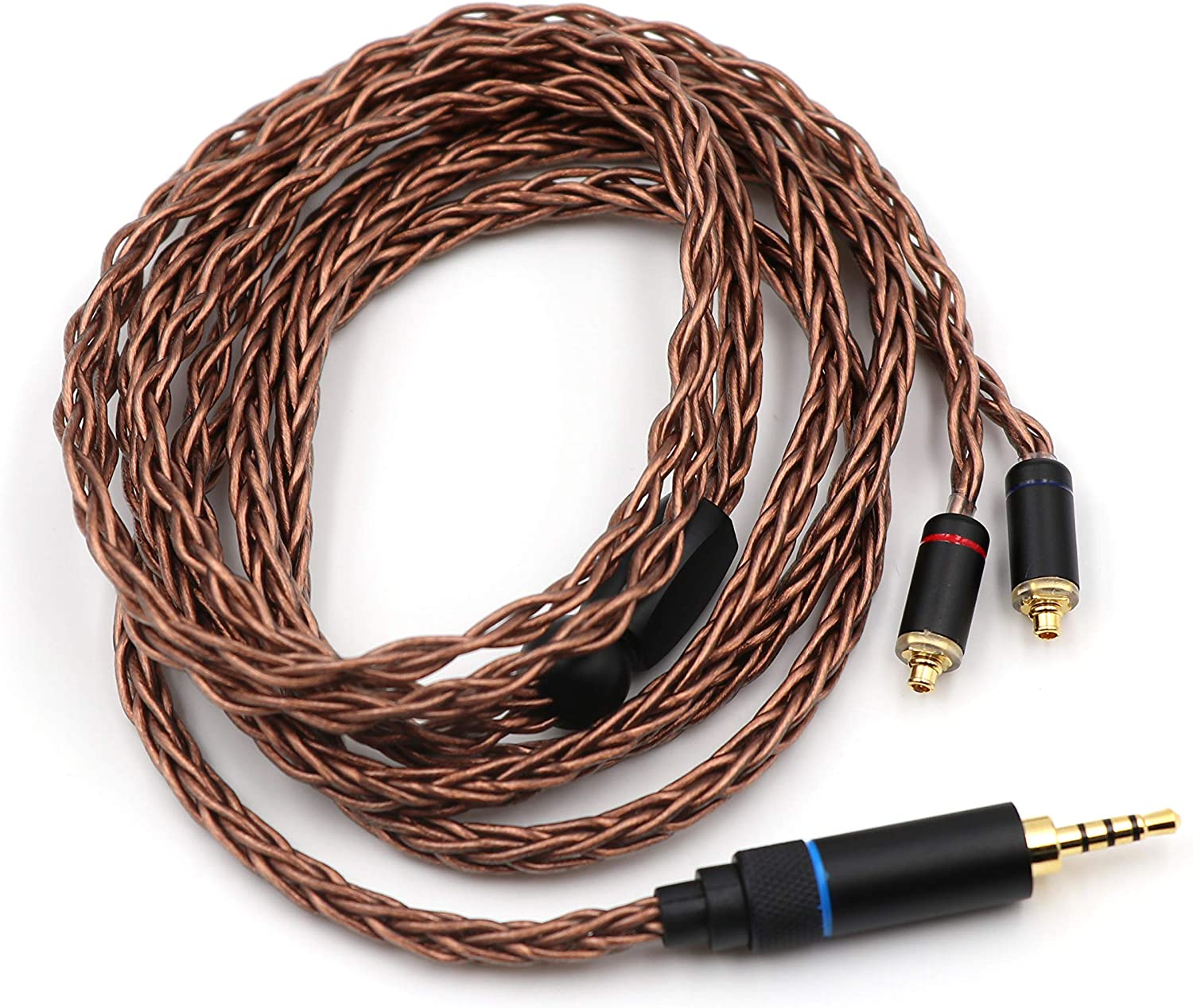 2.5mm Plug, MMCX Linsoul HC-08 HiFi OCC 8 Strands 19 Core Braided Earphone Cable for Audiophile IEM Earbud