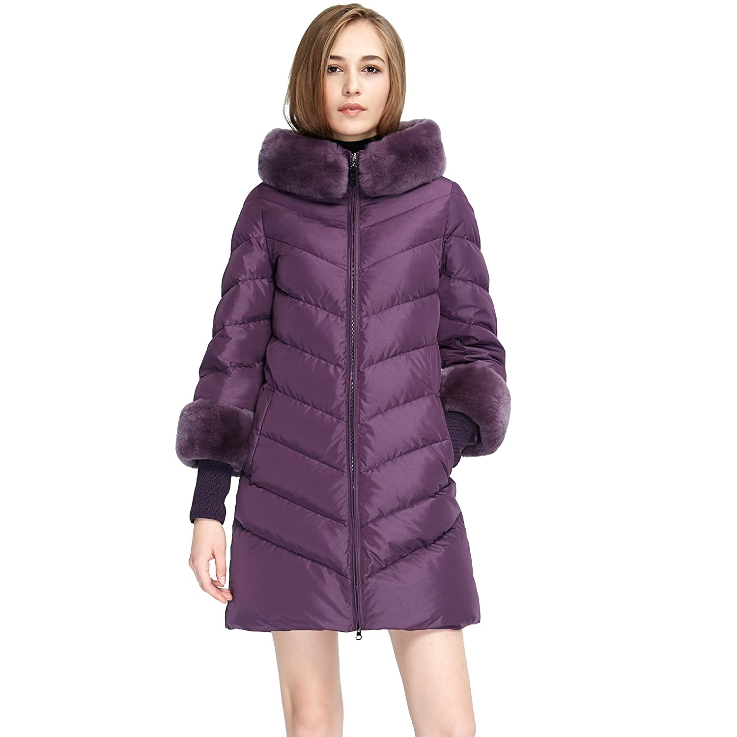 Women's Winter Rabbit Fur Hood Slim Fit Down Parka Jacket