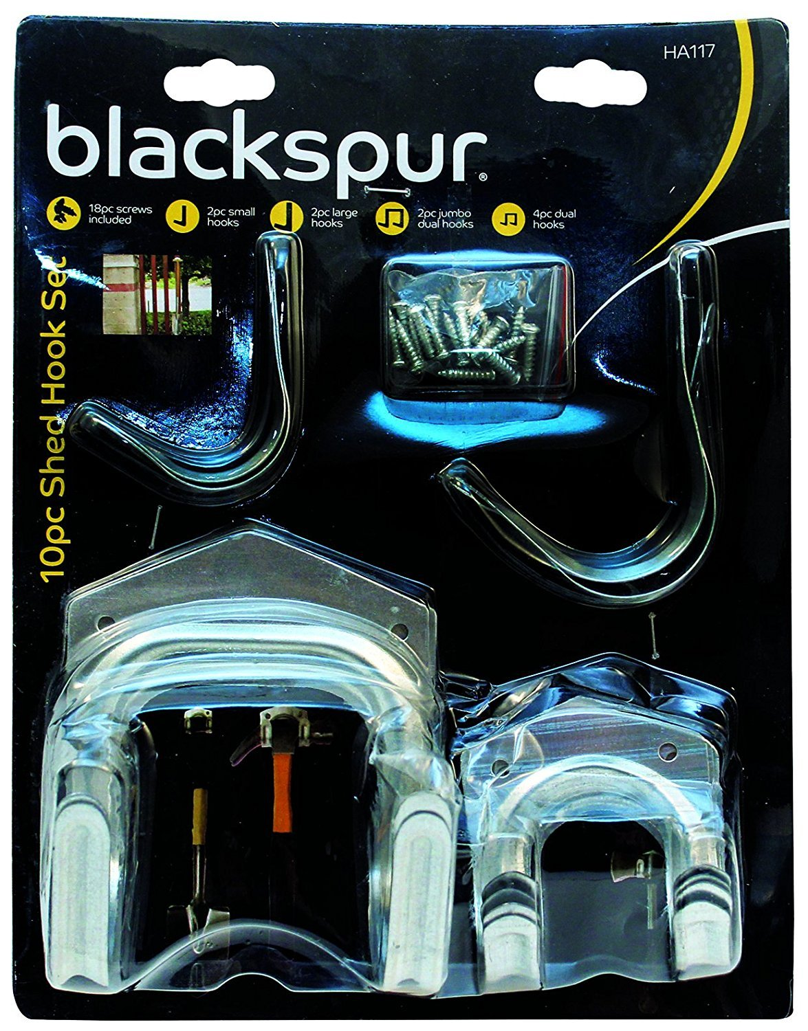 Blackspur Shed Hook Set - 10 Pieces BB-HA117 Hamble Distribution ltd