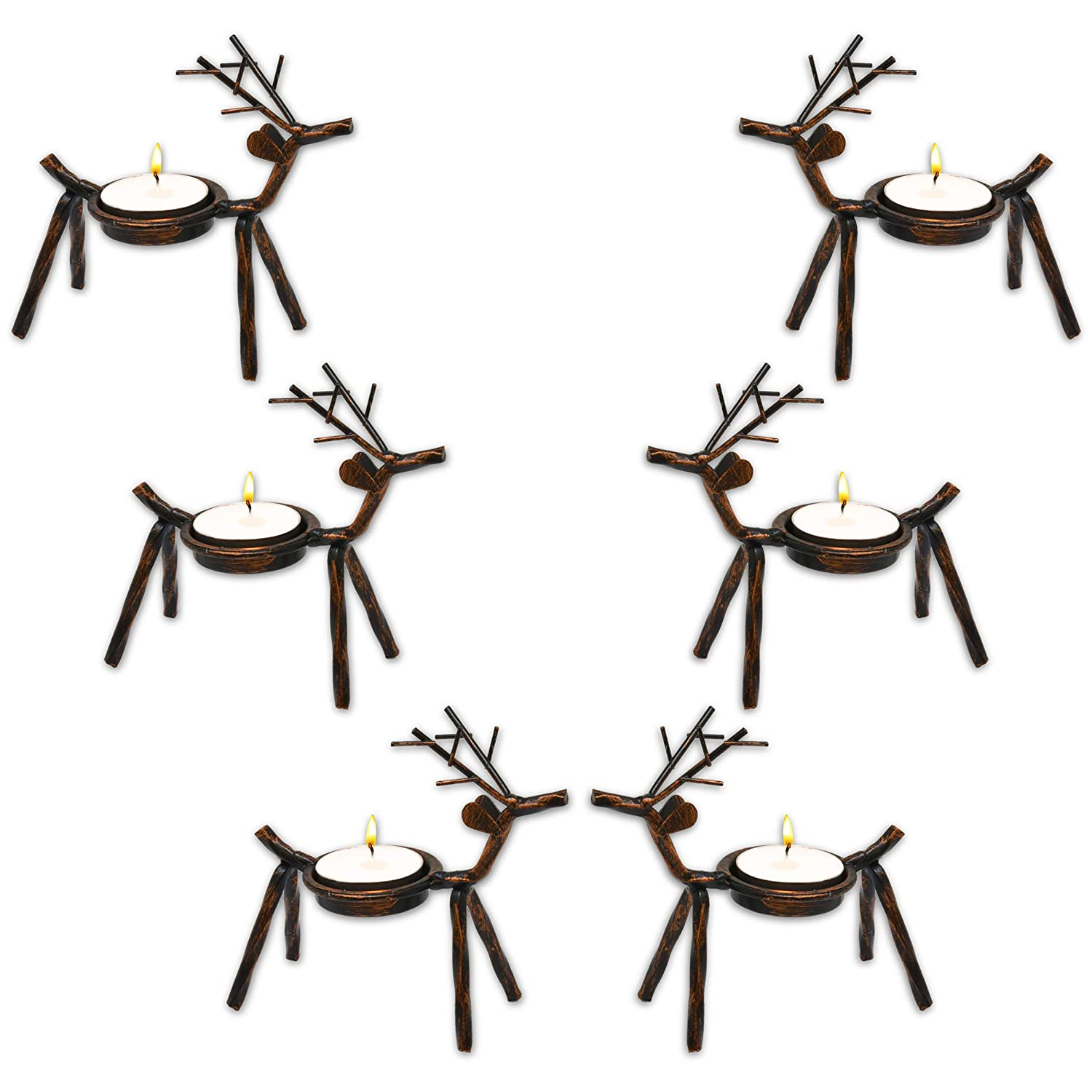 Gift Boutique Christmas Reindeer Tea Light Holder Table Decorations Centerpiece 6 Pack for Mantel Shelf Kitchen Office Desk Home Holiday Decor Brown Rustic