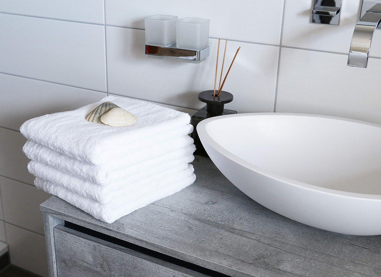 ZOLLNER 4 Asciugamani da Bagno Bianco 100/% Cotone 650g//mq 50x100 cm