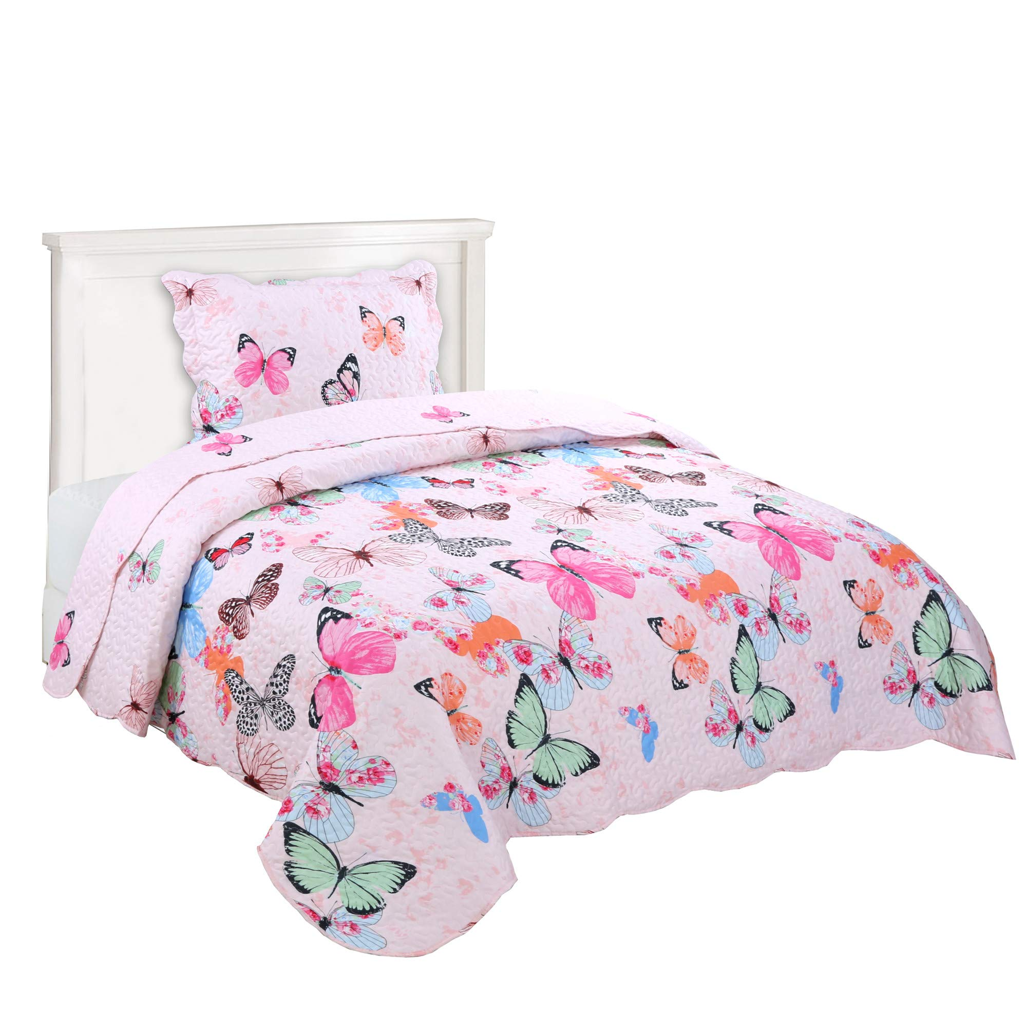 MarCielo 2 Piece Kids Bedspread Quilts Set Throw Blanket for Teens Boys Girls Bed Printed Bedding Coverlet Butterfly A72(Twin(68''x86'')) by MarCielo