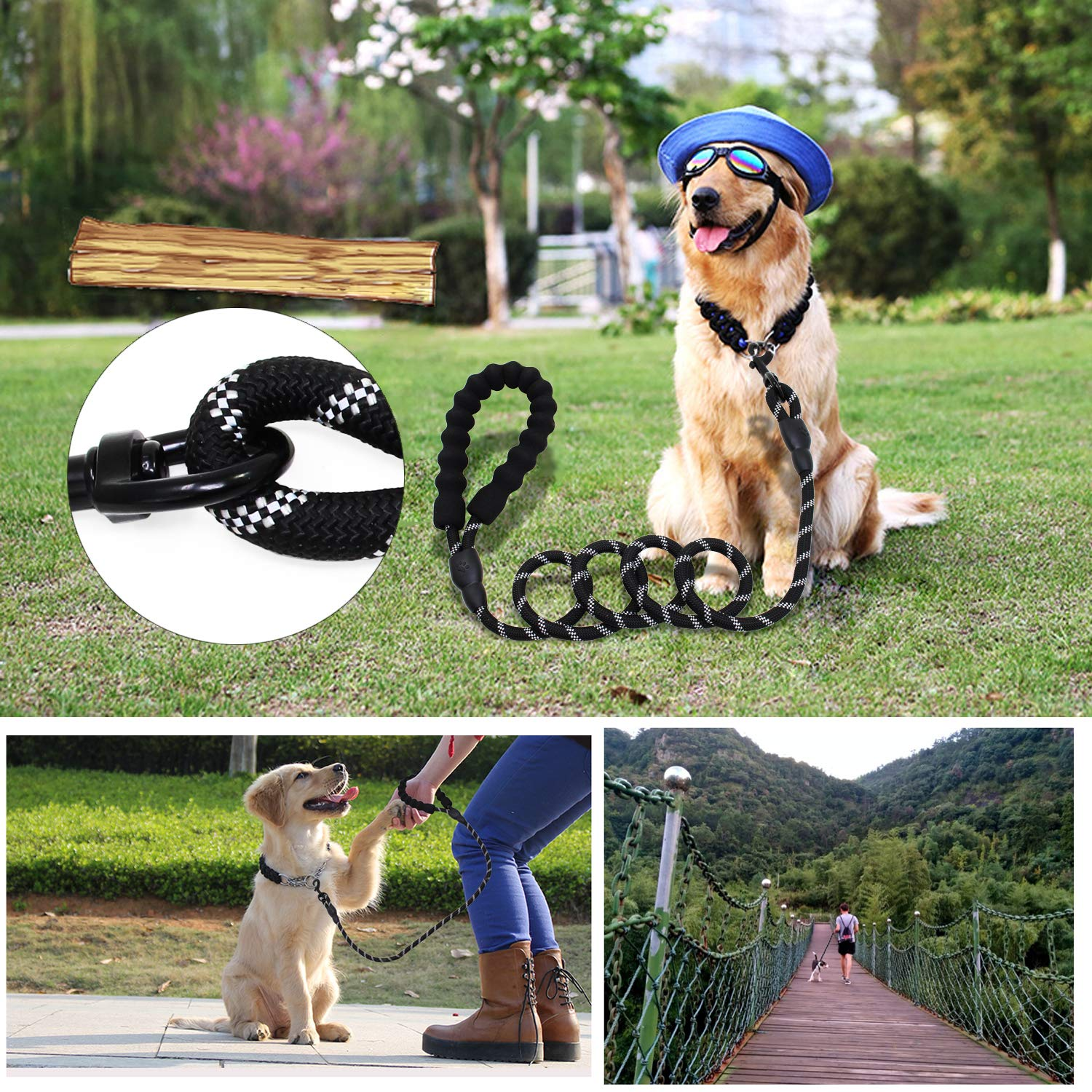 abcGoodefg 5 FT Strong Heavy Duty Dog Leash Lead with Soft Padded Handle and Highly Reflective Threads Light Up Dog Leash for Small, Medium and Large Dogs LEAD-BK