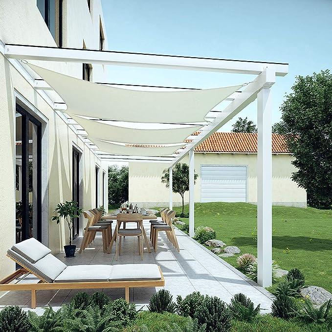 GOUDU Rectangular Vela de Sombra 2.5x3.5m Toldos de Vela Impermeable Kit de Fijación para Exteriores, jardín, Blanco: Amazon.es: Hogar