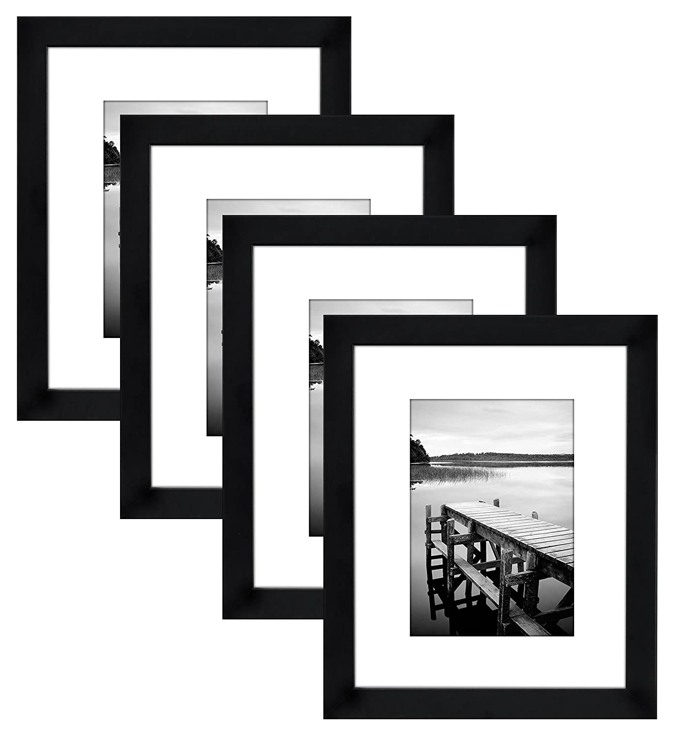 Amazon.com - Americanflat 4-Pack, 8x10 Black Picture Frames - Made ...