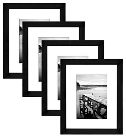 Americanflat 4 pack 8x10 black picture frames made to display pictures 5x7 with