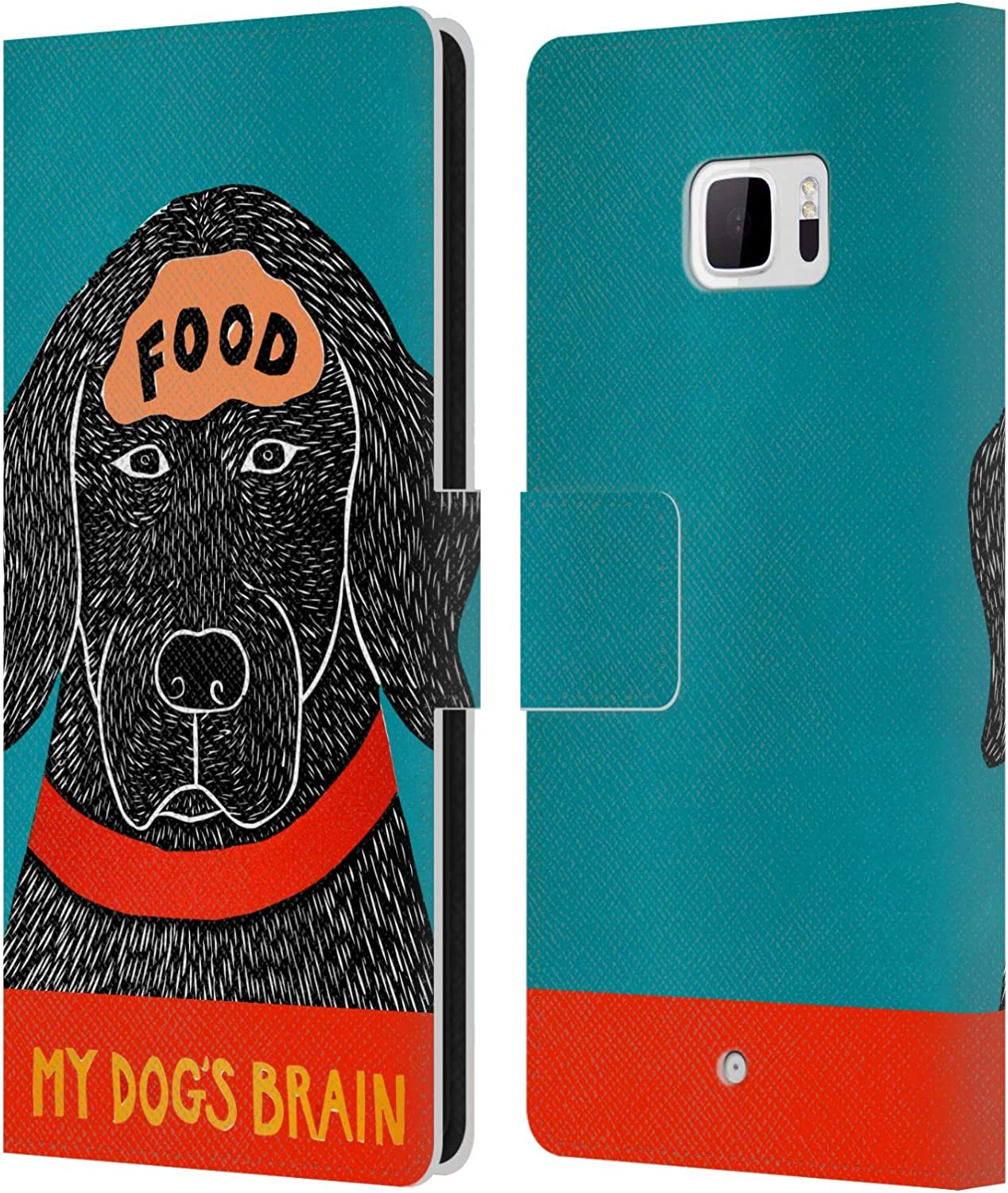 Official Stephen Huneck Dogs Brain Food Sally Humour Leather Book Wallet Case Cover Compatible for HTC U Ultra/Ocean Note