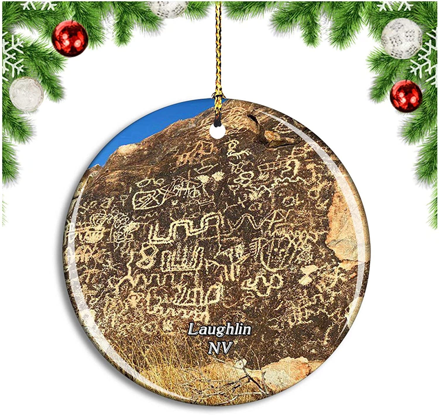 Christmas Eve Services Laughlin Nv 2021 Amazon Com Weekino Laughlin Grapevine Canyon Nevada Usa Christmas Ornament Xmas Tree Decoration Hanging Pendant Travel Souvenir Collection Double Sided Porcelain 2 85 Inch Home Kitchen