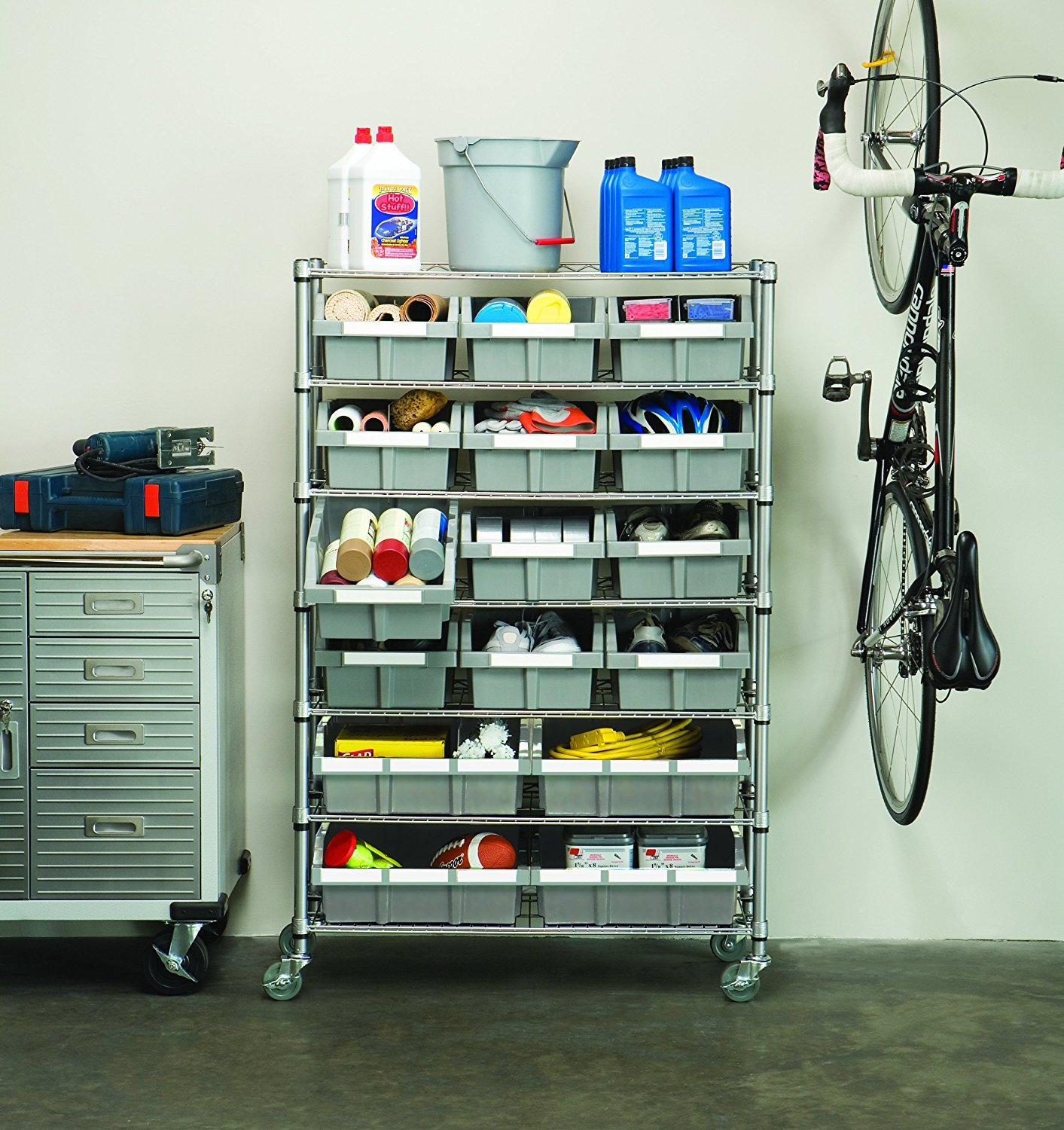 Seville Classics Commercial 7-Tier Platinum/Gray NSF 16-Bin Rack Storage System by Seville Classics (Image #2)
