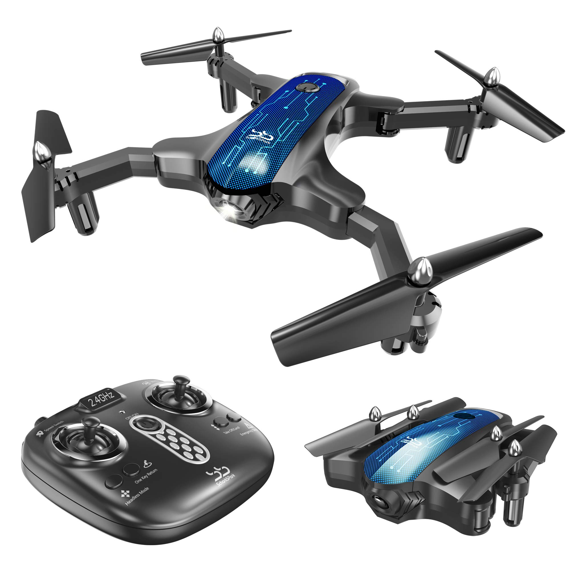 ScharkSpark Drone for Beginners, Portable RC Quadcopter with Foldable Arms Indoor/Outdoor Play, 6-Axis Gyro One-Key Return/Headless Mode/Altitude Hold/3D Flips, Warrior II