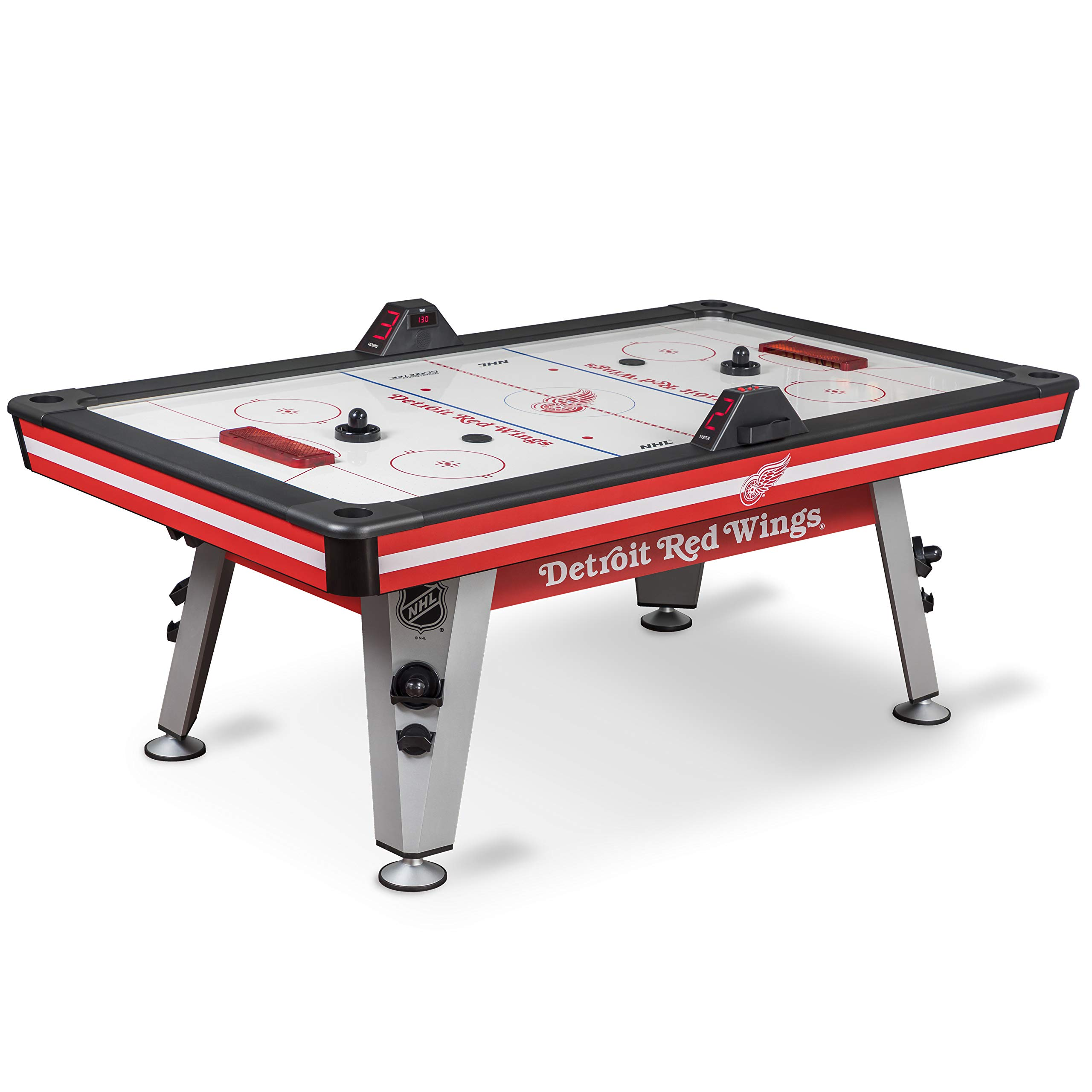 NHL Air Powered Hockey Table - Detroit Red Wings - 84 Inch-  Features Scratch Resistant Material, Automatic Scoring, and Built-In Accessory Storage by NHL
