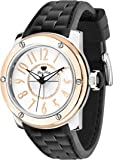 Glam Rock Unisex Quartz Watch with White Dial Analogue Display and Black Silicone Strap 0.96.2649