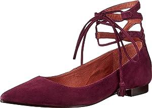 Frye Women's Sienna Ghillie Ballet Flat,Bordeaux Suede Leather,US 5.5 M