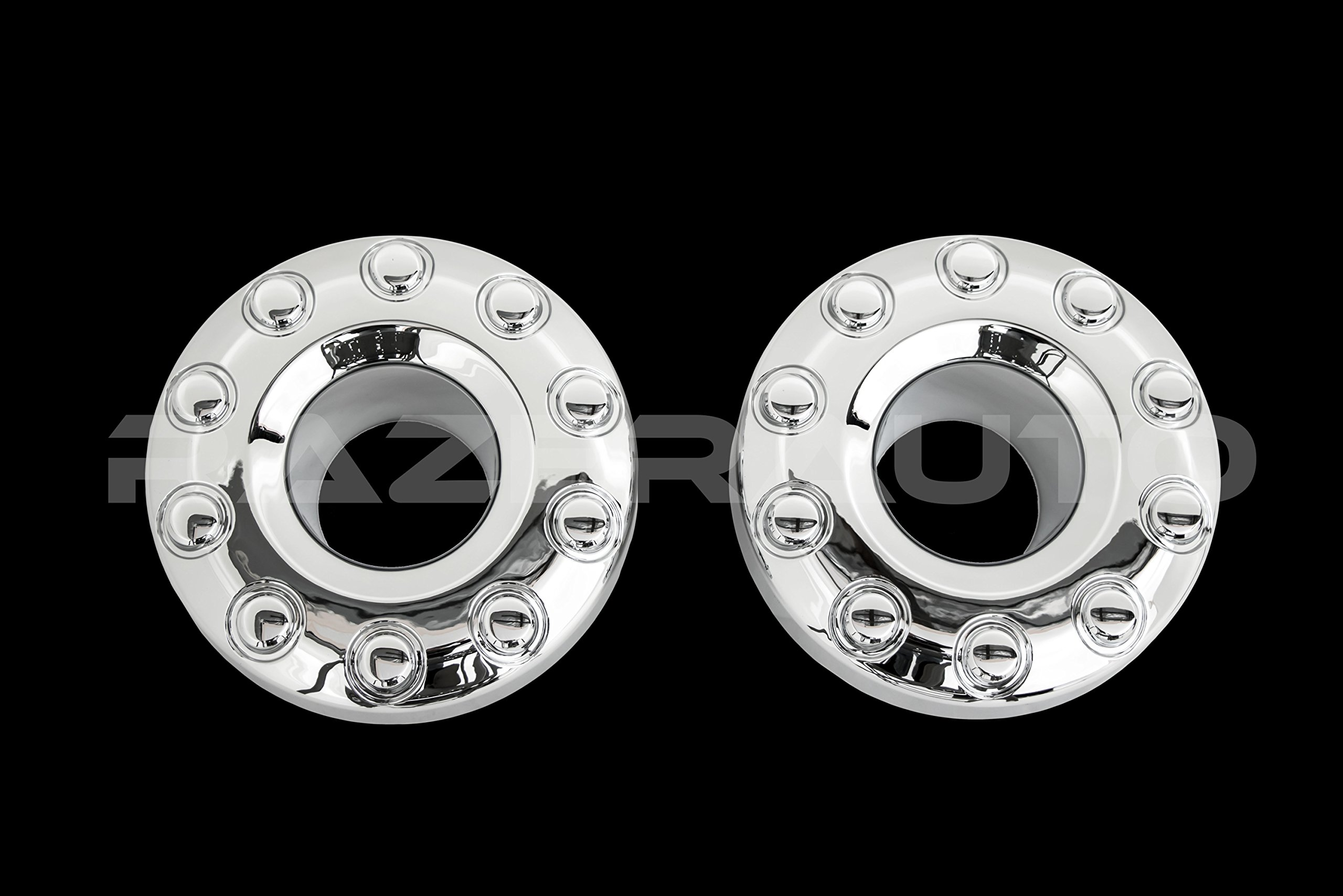 05-17 Ford Super Duty F350+F450+F550 Dually Truck ONLY Chrome 10 Lug FRONT+REAR Wheel Center Hub Cap 4pcs Set by Razer Auto (Image #2)