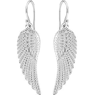 Dew Sterling Silver Angel Wings Drop Earrings