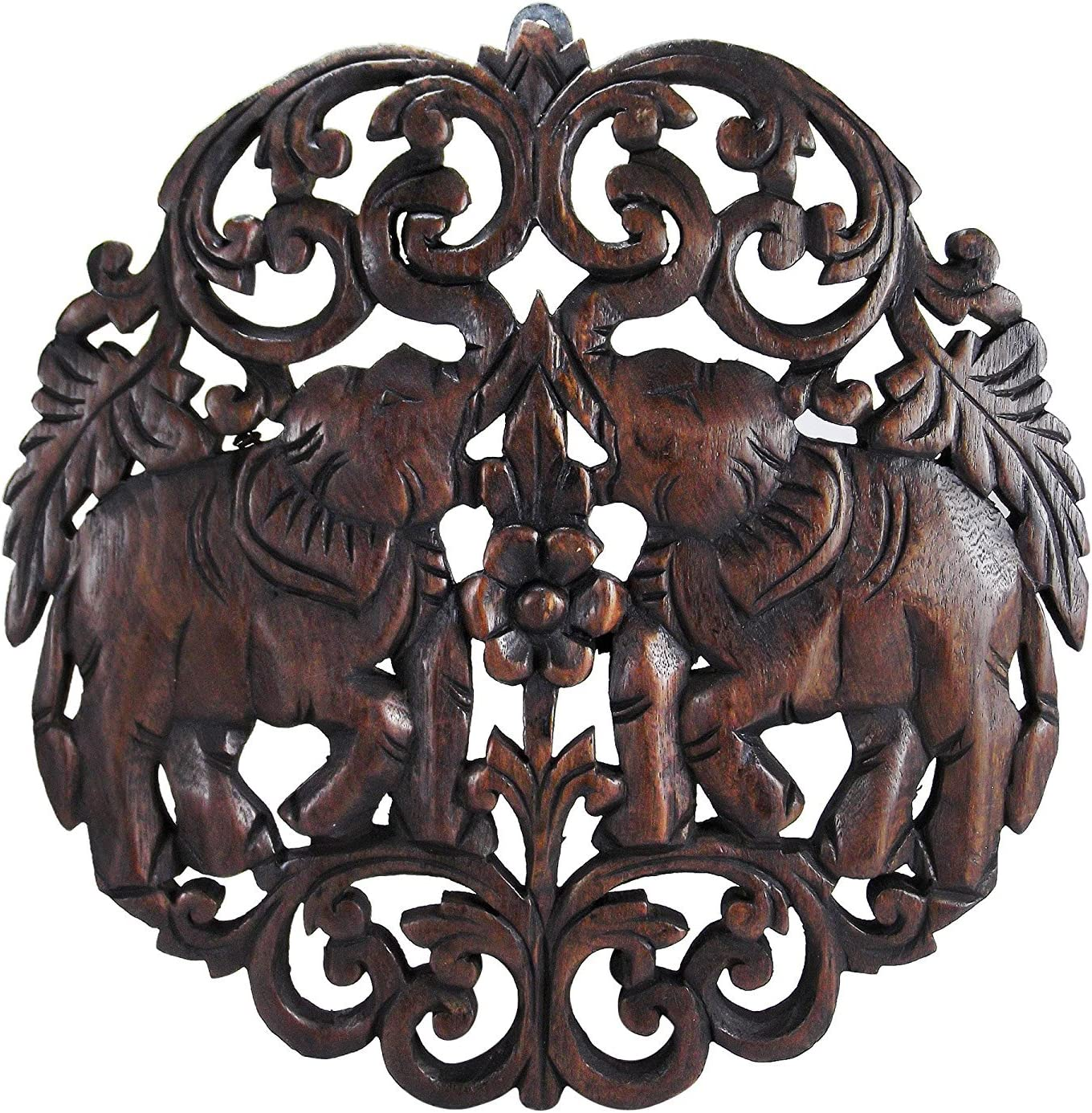 AeraVida Elaborate Circular Double Thai Elephant Hand Carved Teak Wood Wall Art