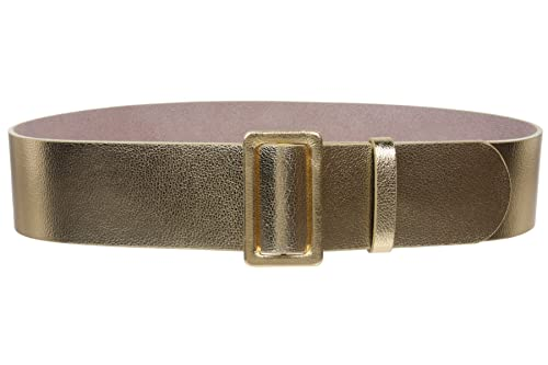 Mujer 21/4de ancho cintura alta pull-through prong-less Patent Cinturón de cuero