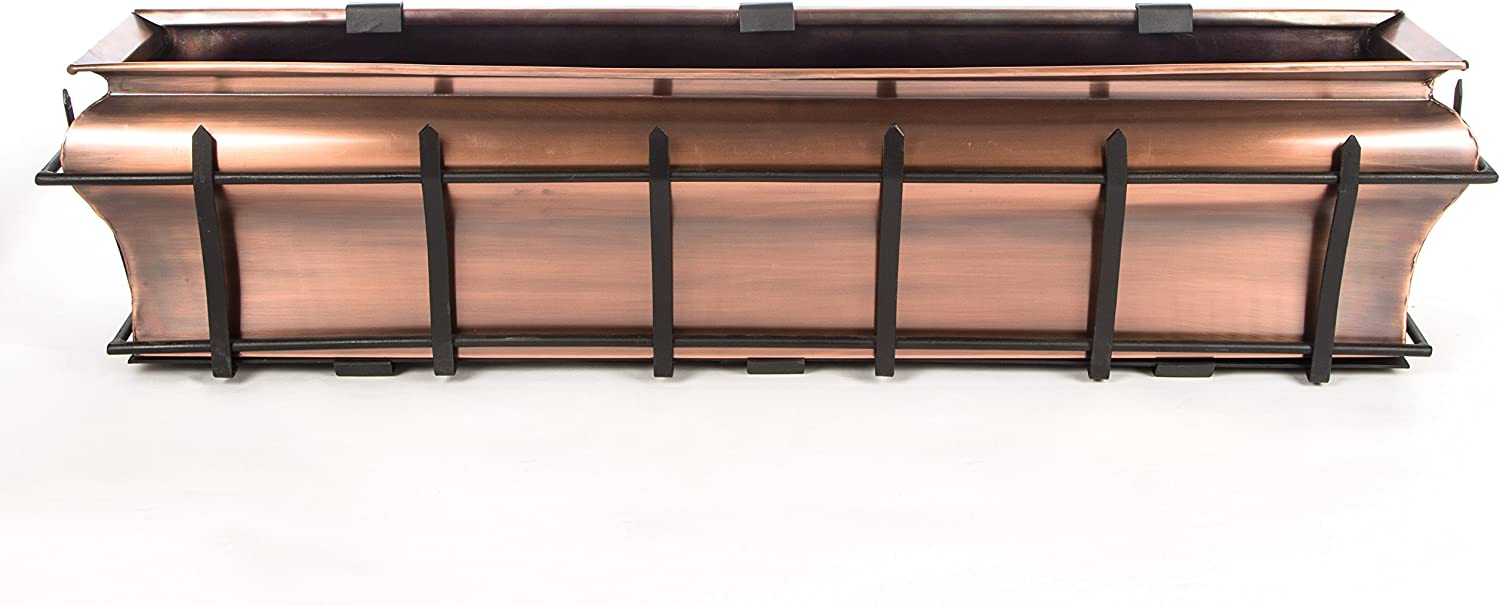 Window Planter Box H Potter Copper Flower Outdoor Plant Container for Windows Attach to House Deck Balcony Long Rectangular Shape 30 Inch GAR541