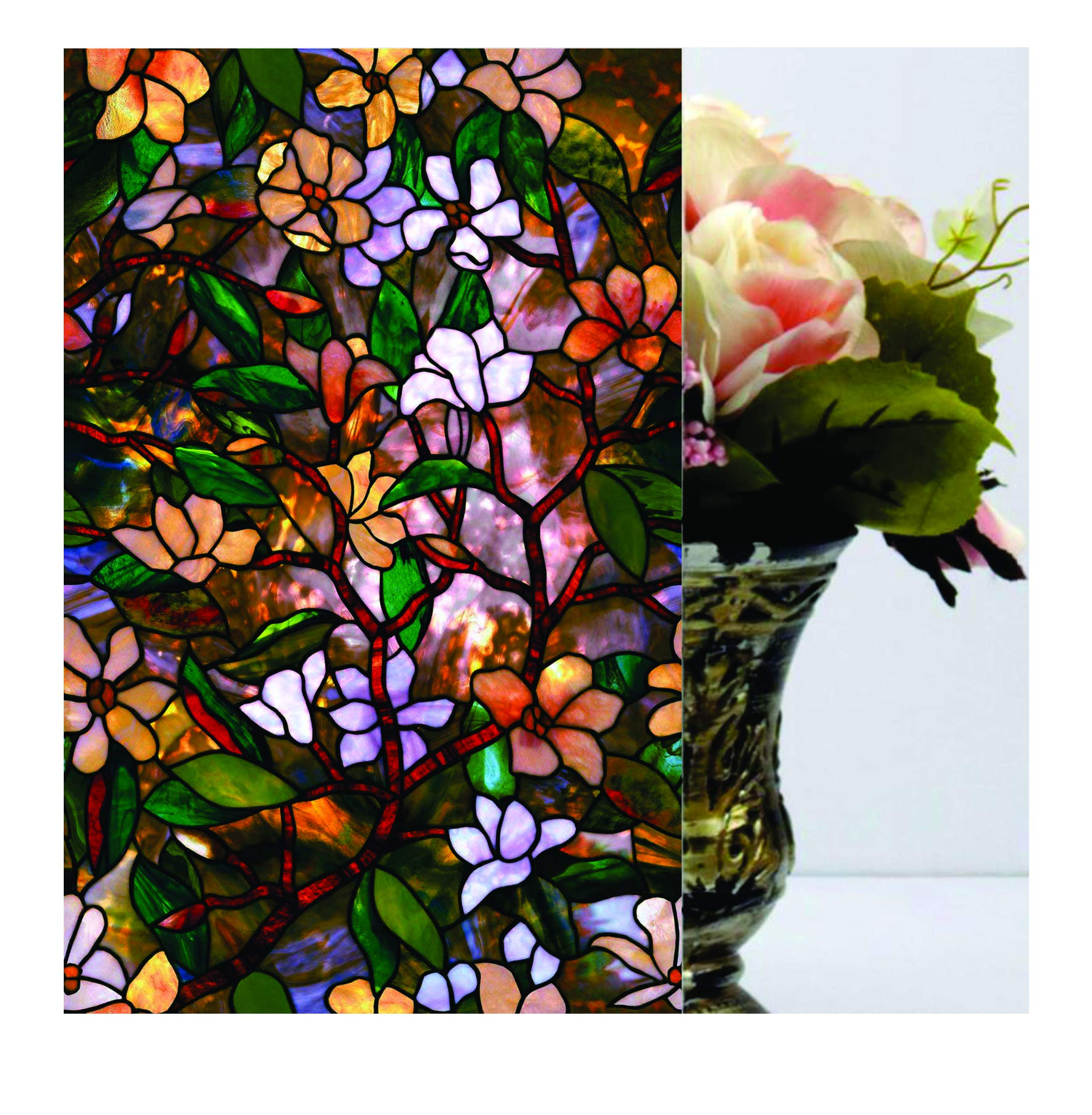 Elton 3D Window Films Privacy Film Self Adhesive Decorative Film for Bathroom Door Window Heat Control Anti UV (Green Flower) 16 x 144 inches (B07KXWF2DF) Amazon Price History, Amazon Price Tracker