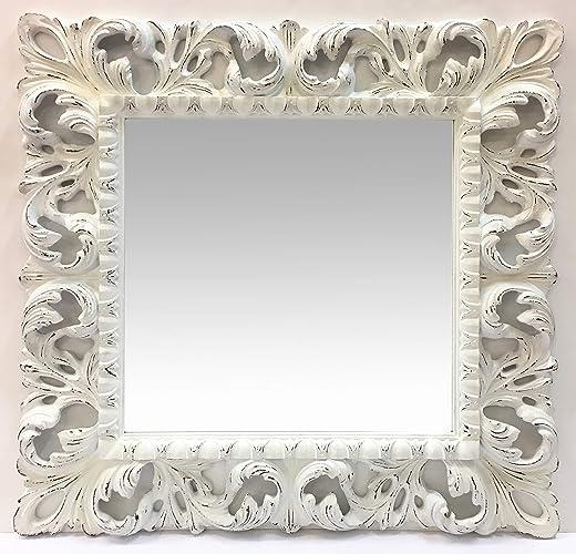 Specchio Legno Decapato.Specchio Quadrato Con Cornice In Legno Intagliato Stile