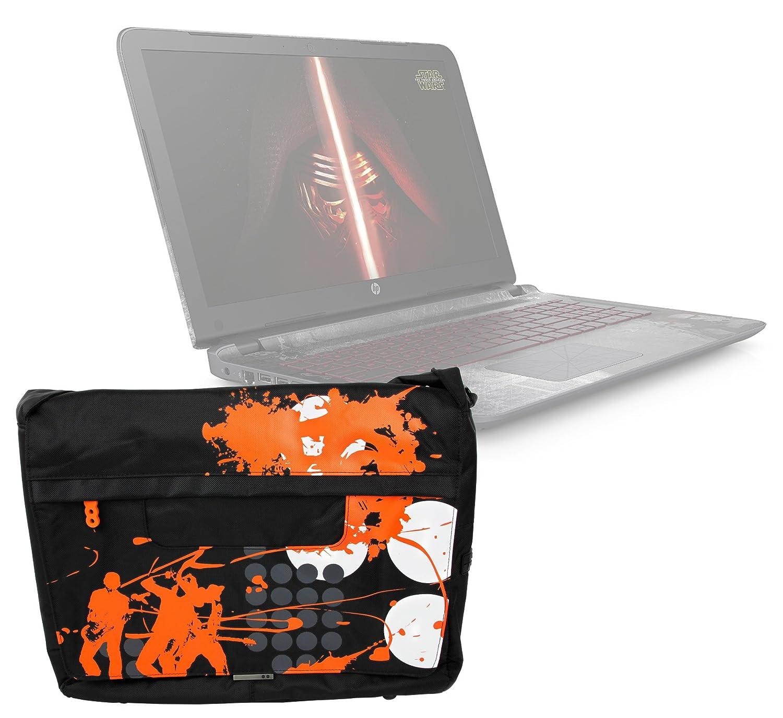 Sacoche noir/orange pour ordinateurs HP 15-bw039nf et 15-bs062nf 15' et Acer Aspire VX15 VX5 PC Portable Gaming 15,6' - avec bandoulière et rabat par DURAGADGET