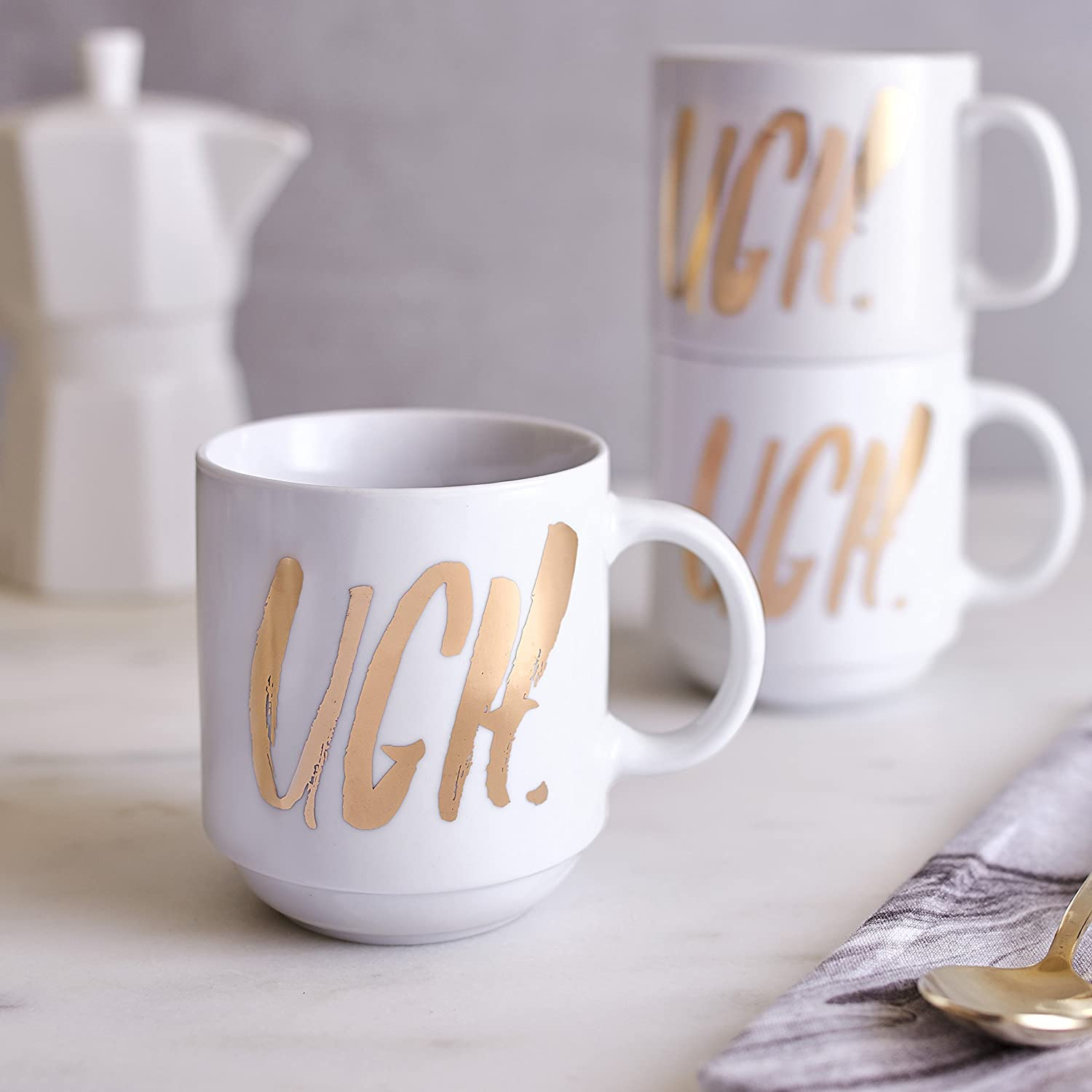 Gold Plated Wire Easy Tiger Stackable Mug Wire Holder Holds 4 Mugs