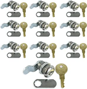 """Leisure Coachworks 10 Pack 7/8"""" Keyed Camlock with Straight and Offset Cam Lock Latch Keyed Alike (10, 7/8"""")"""