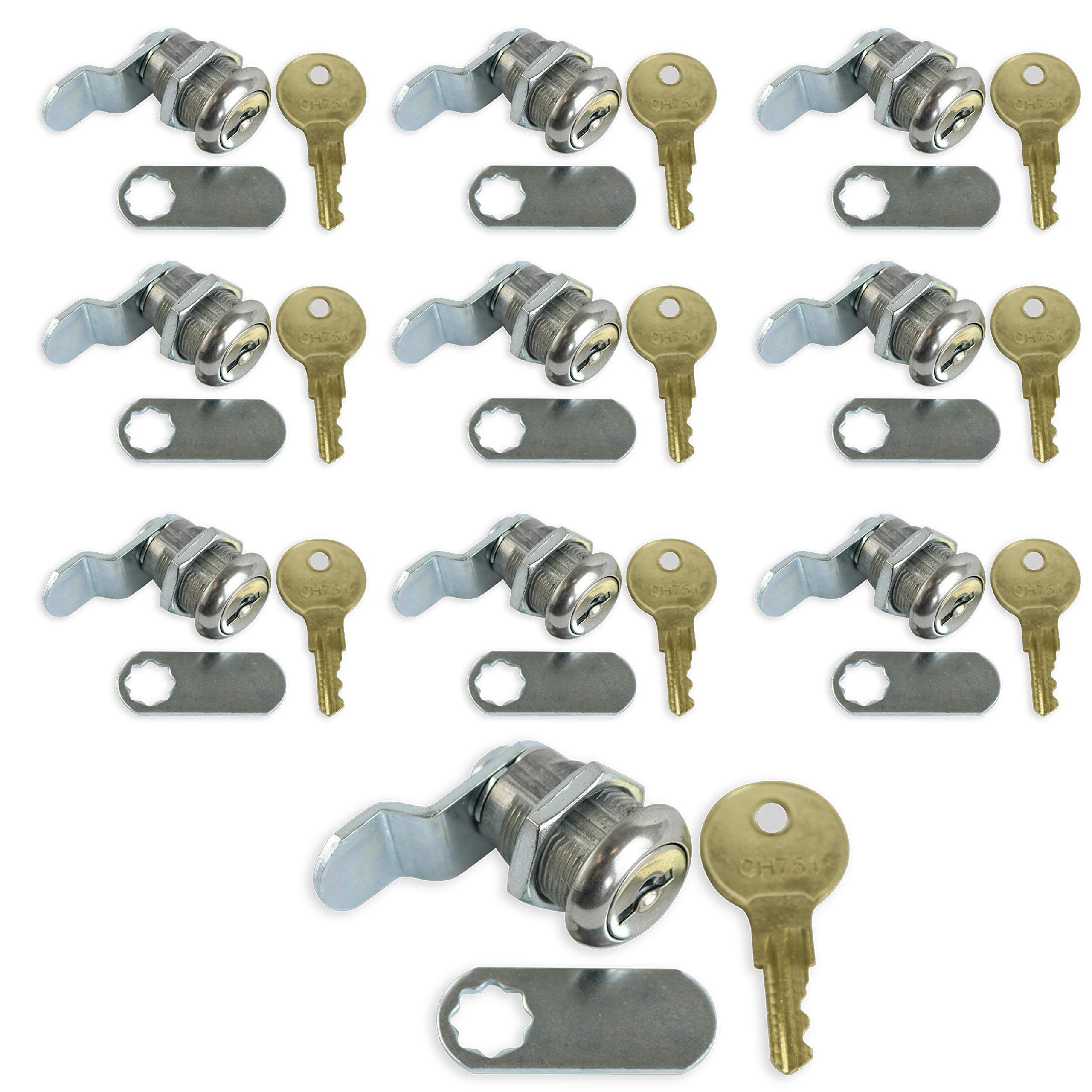Leisure Coachworks 10 Pack 7/8'' Keyed Camlock with Straight and Offset Cam Lock Latch Keyed Alike (10, 7/8'')