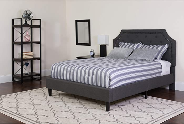 Flash Furniture Brighton Tufted Upholstered Platform Bed - Full Size (Dark Gray)
