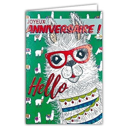 69-4080 Tarjeta feliz cumpleaños rojo brillante Hello Lamas ...