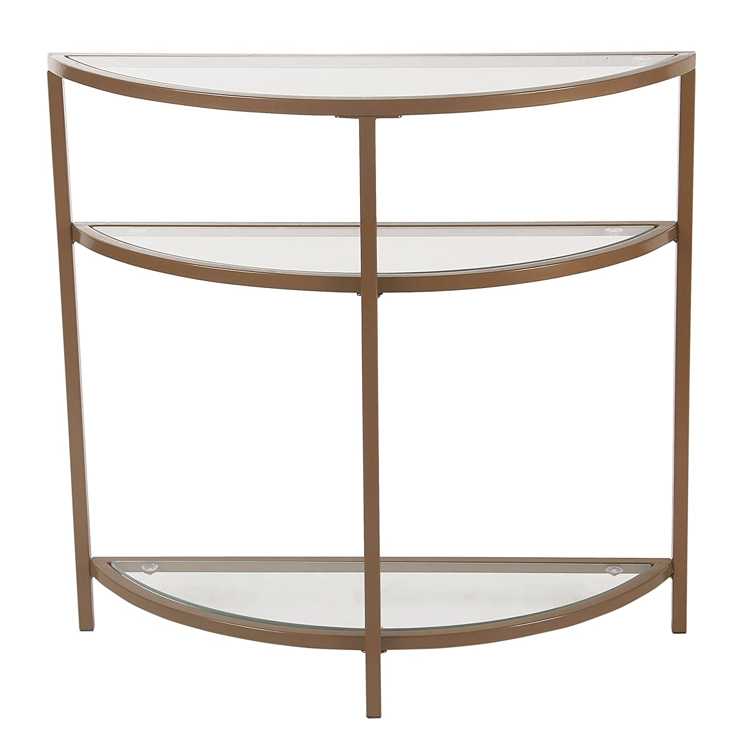 Spatial Order Half-Moon Modern Metal Accent Table, Gold