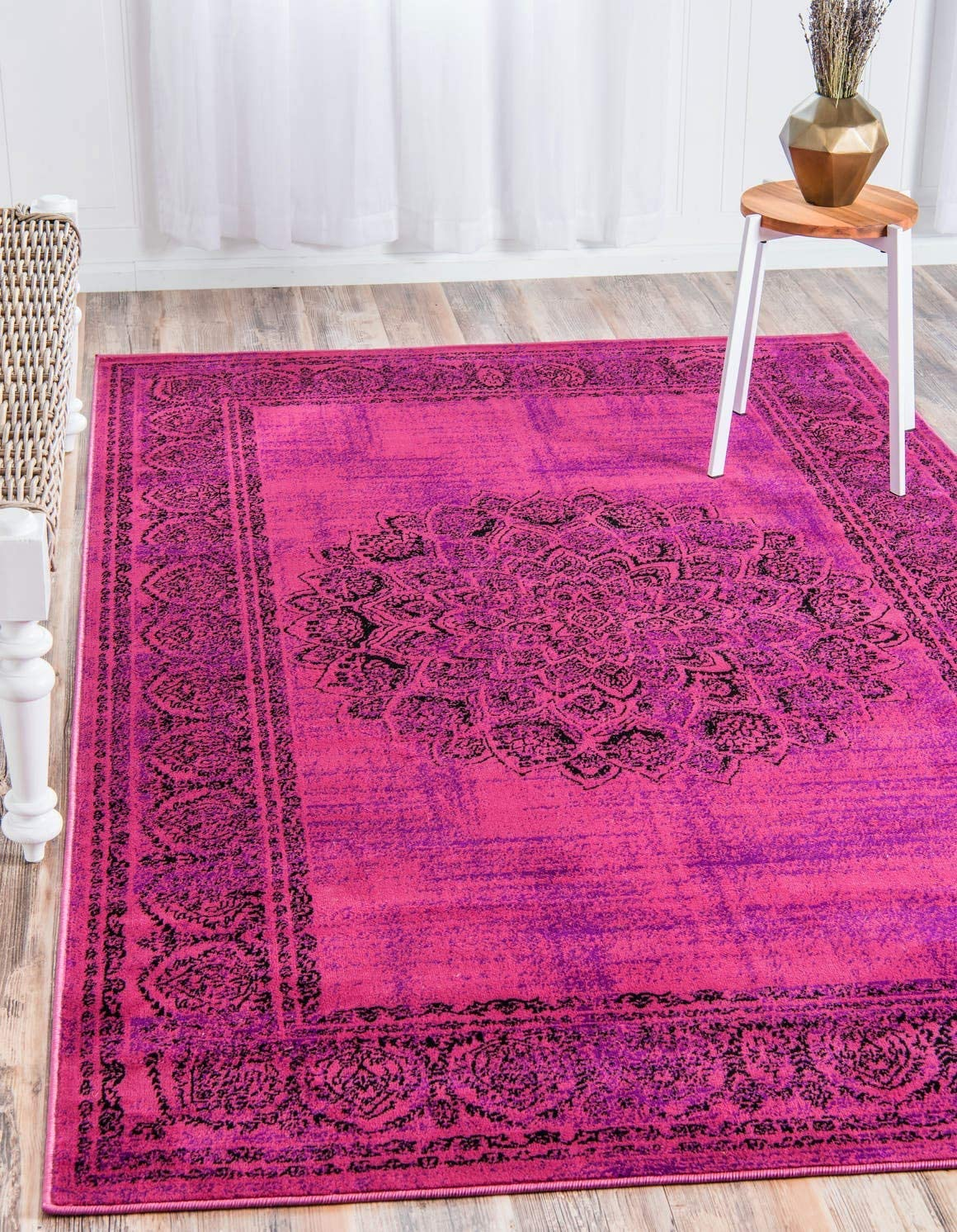Unique Loom Imperial Collection Modern Traditional Vintage Distressed Fuchsia Area Rug 2 0 x 3 0