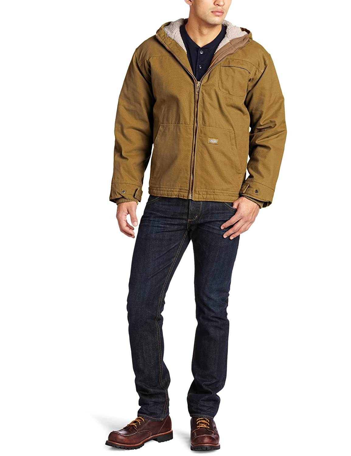 b6bf3c8d18b5 Amazon.com  Dickies Men s Sanded Duck Sherpa Lined Hooded Jacket Big-Tall   Work Utility Outerwear  Clothing