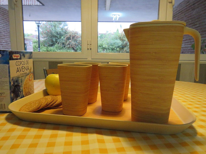 Juego de Jarra más 4 vasos Conjunto de bambú Biodegradable Respetuoso con el Medio Ambiente Ecologico de Fibra de Bamboo,: Amazon.es: Hogar