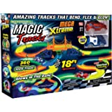 Ontel Magic Tracks Mega Xtreme with 2 Race Car and 18 ft of Flexible, Bendable Glow in the Dark Racetrack, As Seen on TV