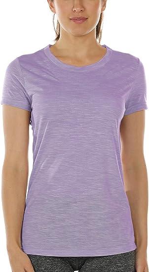 Atmungsaktiv Trainingsshirt Shirt Gym Damen Funktionsshirt Top Laufshirt T Kurzarm Fitness Icyzone Sport pSMVGUqz