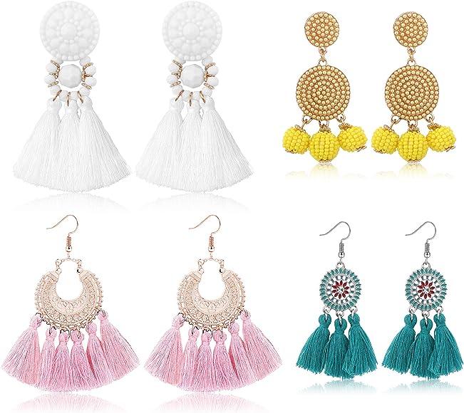 1Pair Cool Pearl Ball Pompom Long Tassel Earrings Boho Multi-color Jewelry DLUK