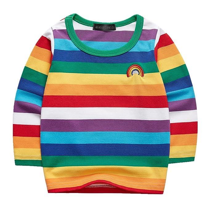 b2110ad5 Sooxiwood Boys T-Shirt Striped Rainbow Long Sleeve Size 24M L-Rainbow