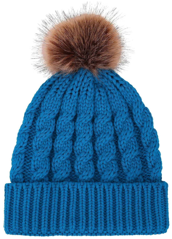 Livingston ウィメンズ フェイクファー ポンポン付き ニット帽 冬 ソフトニット ビーニー 帽子 B0714BSWGN ロイヤルブルー ロイヤルブルー