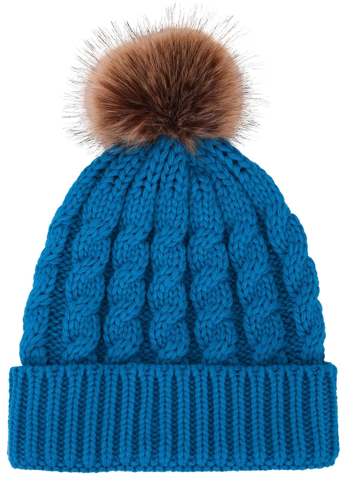 56e4cff866575 Toppers Women Pom Pom Beanie Winter Warm Knitted Beanie Hat Royal Blue