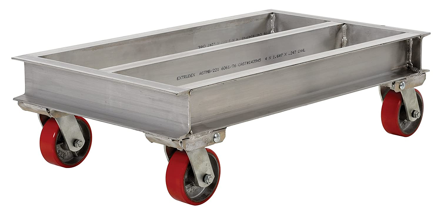 36 Length x 21 Width x 10-5//8 Height Deck Vestil ACP-2136-20 Aluminum Channel Dolly with Poly on Steel Caster 2000 lbs Capacity