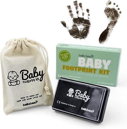 Kit de impresión de huellas de mano y pies de Bebé - almohadilla con tinta negra segura para bebé para impresiones de manos y pies - fácil de lavar