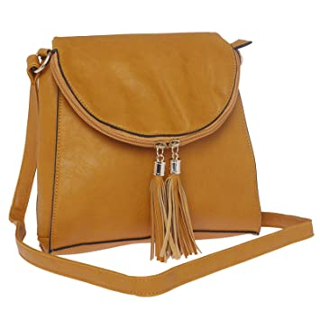 Buy Sling Bags for Women by Fur Jaden, Stylish Yellow Colour ...