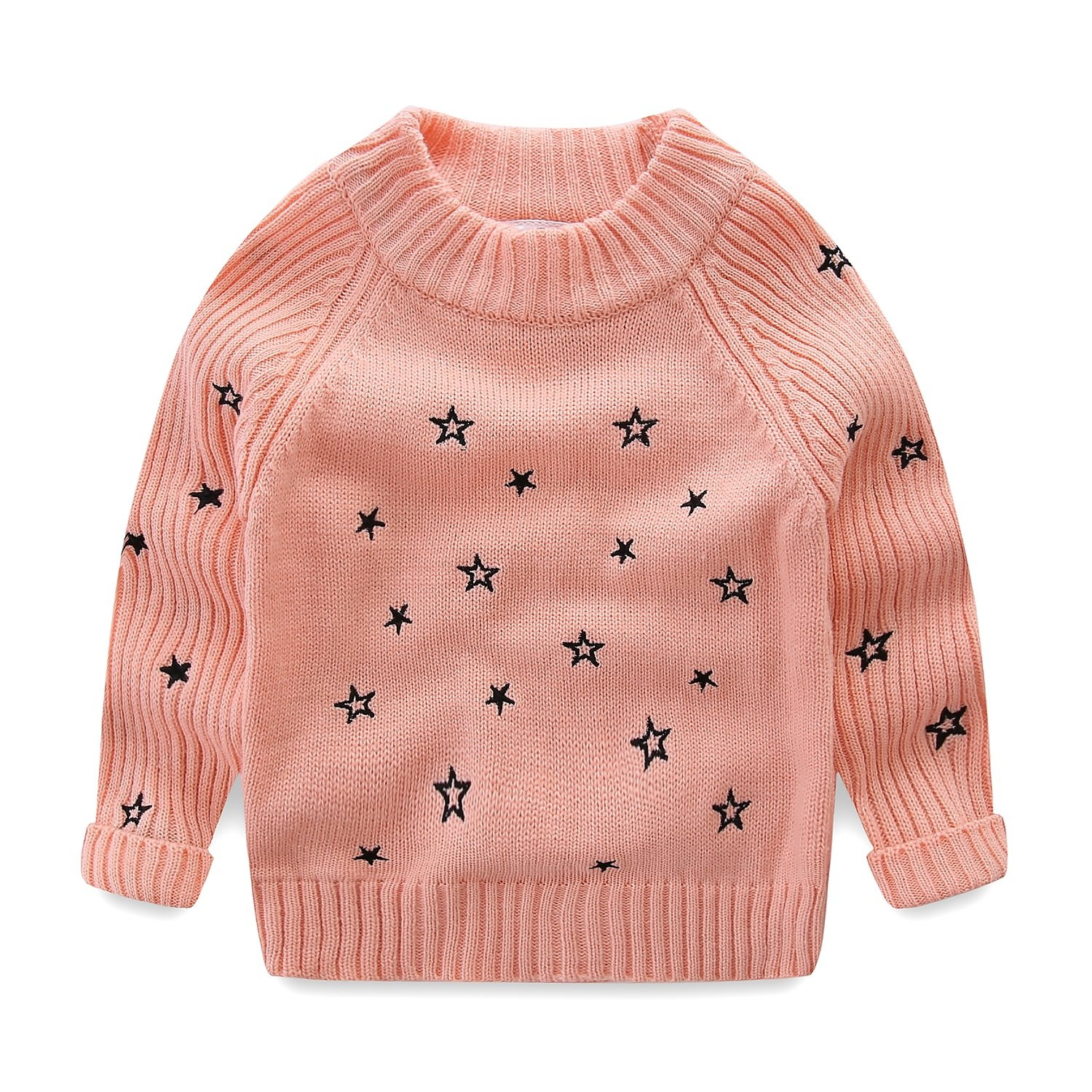 Mud Kingdom Little Girls Pullover Sweaters Cute Embroidered Stars 3T Pink